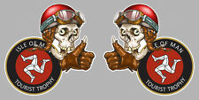 2 X ISLE OF MAN TOURIST TROPHY SKULL ILE DE MAN STICKER RACING 80mm (IA050)