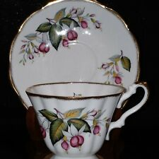 Footed Rosina Teacup & Saucer Purple Fuschia with Heavy Gold Trim
