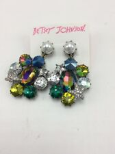 $52 Betsey Johnson goldtone multi stone & imitation pearl drop earrings F7