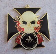 Rock & Roll Hall of Fame Museum Cleveland Skull Black Cross Charm for Key Ring