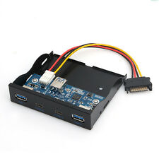 """20Pin Floppy Bay Front Panel 4 Ports USB 3.0 Type C Hub Expansion Adapter 3.5"""""""