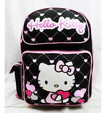 """NWT Hello Kitty 16"""" Large Backpack Bag Black Heart Style Licensed Sanrio"""