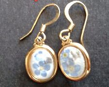 """Forget-Me-Not Earrings 24k gold plated Made in CO .5"""" long Unique Free Ship"""