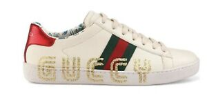 Gucci Mens White New Ace Leather Low Top Lace Sneaker Size 39.5