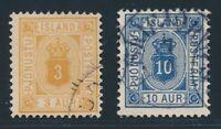 ICELAND OFFICIALS 1876, Mi. 3 B + 5 B used, very fresh and fine!! Mi.130,-