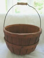 GREAT 19TH C APPLE BASKET BALE HANDLE COUNTRY PRIMITIVE NEW ENGLAND OAK PATINA