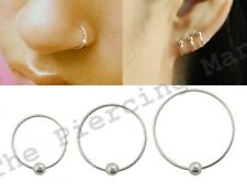 S925 Sterling Silver Ball Hoop Ring Lip Nose Ear Earring Eyebrow Body Piercing