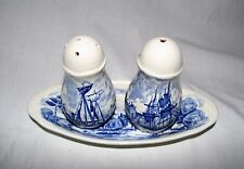 Palissy England Royal Worcester TRAY & Salt & Pepper Shakers Blue Transferware
