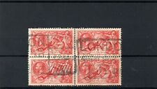 GB 1934 5/- seahorse block of 4 good used