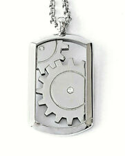 "STAINLESS STEEL CRYSTAL SET CLOCK WORK DOG TAG PENDANT , 18""  CHAIN"