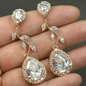 Elegant Rose Gold Drop Earrings for Women Jewelry White Sapphire A Pair/set