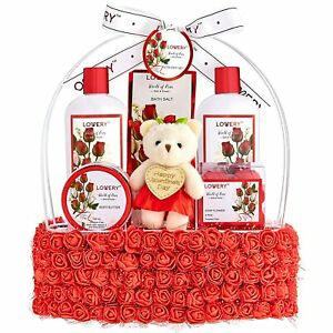 Valentine's Day Spa Gift Basket for Women – Red Rose Scented in Floral Handmade