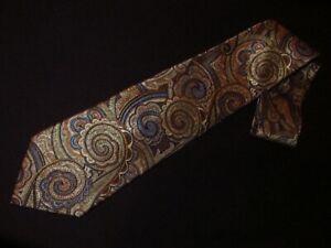 XMI Tie Gold Blue Paisley Printed Satin 100% Silk Designer Mens Necktie Luxury