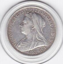 Sharp  1901   Queen  Victoria    Florin   (2/-)   Sterling  Silver   Coin