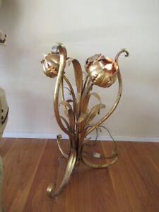 Hollywood Regency HANS KÖGL Style Italy Gilt Tole Flower Table Mid Century Light