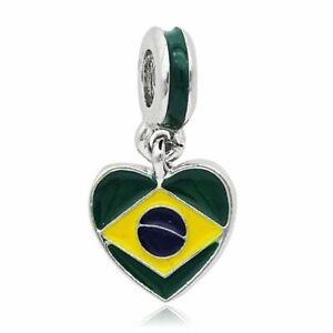 Brazil Flag Enamel Beads Charms Dangle Silver Plated Jewelry Bracelets Accessory