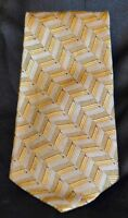 ROUNDTREE & YORKE All Silk Handmade Gold Gray Blue Patterned Neck Tie USA