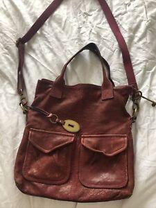 Fossil Red Leather Handbag Key Lock Charms Cross Body