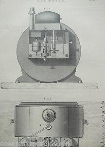 ANTIQUE PRINT C1880'S GAS METER ILLUSTRATED DIAGRAM INDUSTRIAL SCIENCE ENGRAVING