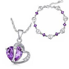 Women's Girls Love Heart Necklace & Bracelet Purple Crystal Stone Set UK
