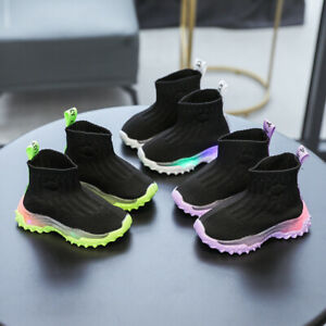 Boys Girls Kids Shoes Toddler Light Up Luminous Boot Trainers LED Flash Sneakers