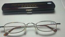 Classic Mini +2.25 Presbyopia Reading Glasses w/Slim Pocket Pen Clip Hard Case