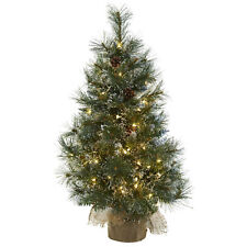 Small Artificial 3 ft Christmas Tree with Pine Cones Led Lights Burlap Bag Base