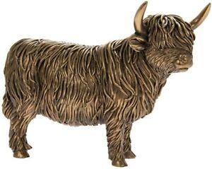 Reflections Bronzed Highland Cow Ornament By LEONARDO