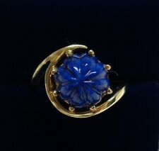 Fine Carved Lapis Lazuli Ring 14ct Yellow Gold - Size P (US 7.5) - 4.9 grams