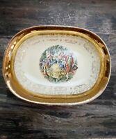 Sabin Crest O Gold 22k Warranted Colonial Oval Serving Vegetable Bowl