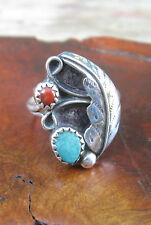 Vtg Navajo Turquoise, Red Coral Settings, Scroll Leaf Design Sterling Silver S-7