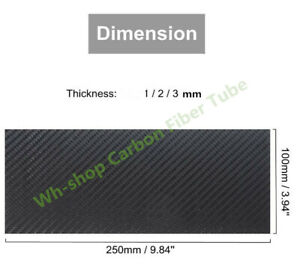 3K Carbon Fiber Plate 100x250mm 100%Pure Board 1mm 2mm 3mm Wall For RC UAV/Toys
