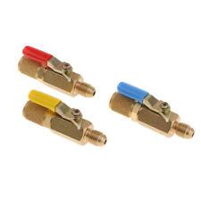 3X 1/4'' SAE A/C HVAC R410A R134A Refrigerant Charging Hoses Shut Ball Valve
