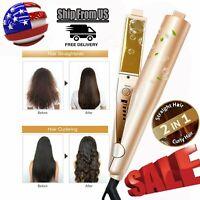 Curling Iron Hair Straightener Ceramic 2 In1 Salon Curler Curling Hair Styler US