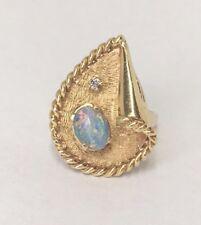 OPAL TRIPLET & DIAMOND VINTAGE RING SIZE 6.25 14K YELLOW GOLD