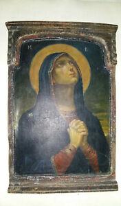 Antica Icona Russa Madonna Addolorata dipinta tavola legno Ancient Russian Icon