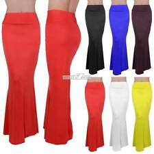 Womens Lady Stretch Foldover High Waisted Long Maxi Fishtail Skirt Solid Dress