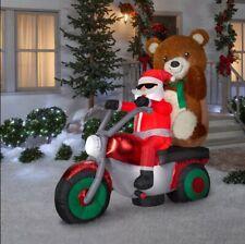 Christmas Inflatable Santa W/ Teddy Bear On Motorcycle Scene Xmas Decor Holiday