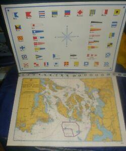 Lot/2 NAUTICAL PLACEMATS w/ VANCOUVER & SAN JUAN ISLANDS Reverse=FLAGS A-Z, Exc