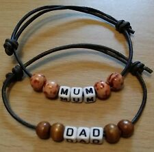 Leather Mum/Dad Bracelet-Any name-Adjustable friendship Bracelet-Personalised