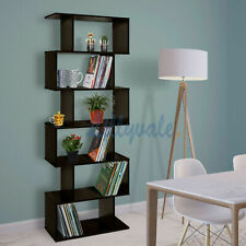 Brown Bookcase Bookshelf S Shape 6 Tier Shelves Unit