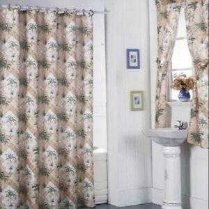 Beige Palm Tree Lattice Shower Curtain Set Fabric Bathroom Window Liner 12 Rings