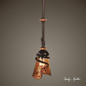Bronze Iron Art Glass Mini Pendant   Amber Contemporary