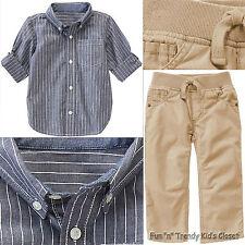 NWT Gymboree BACKYARD EXPLORER Boys Size 3T Striped Shirt & Khaki Pants 2-PC SET