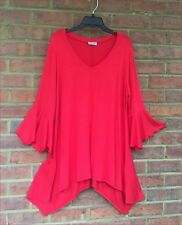 Womens Crimson Sharkbite Bell Sleeves Asym Top Liz in LA Size 6X