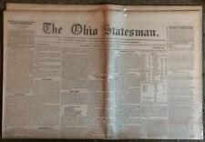"Original 1841 ""The Ohio Statesman""  Columbus, Ohio Newspaper"