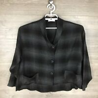 Luukaa Women's Size 12 Button Up Top Black Gray Check Relaxed Fit Pocket Front