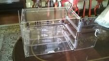 Clear Acrylic Three Tray Pastry Display Case with Rear Door
