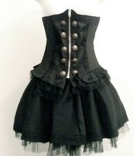 Punk Rave Steampunk Fetish Visual Kei Goth Underbust Waist Corset Cincher Skirt