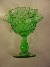 Fenton Transparent Green Hobnail Double Crimped Footed Comport - #3628 - GT